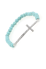Dozen Assorted Color Rhinestone Cross Stretch Turquoise Bracelet