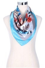 A Dozen Assorted Color Silky Square Flower Satin Scarves