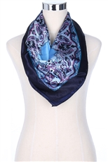 A Dozen Assorted Color Silky Square Paisley Satin Scarves