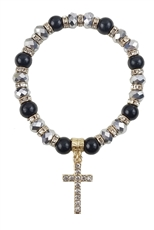 Dozen Assorted Color Cross Charm Sparkling Crystal Stretch Bracelet