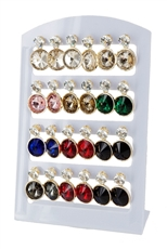 A Dozen Assorted Cubic and Glass Earring with Display Case