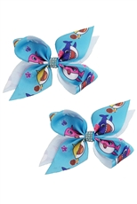 A Dozen Assorted Color 2-pc Baby Shark Bow Hair Clip Set