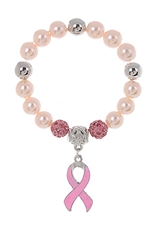 Dozen Breast Cancer Ribbon Charm Bracelet