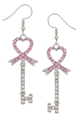 A Dozen Assorted Color Rhinestone Pink Ribbon Earring