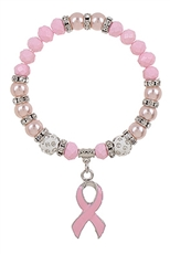 A Dozen Assorted Color Breast Cancer Ribbon Charm Bracelet