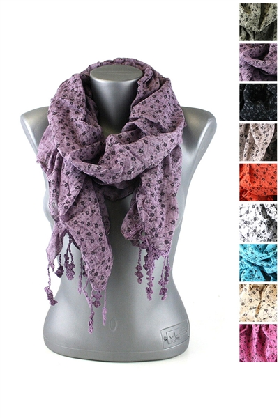 DZ Pack Assorted Color Floral Print Fashion Scarves