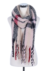 Plaid Print Fringe Scarf Shawl