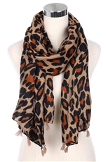 Tassel Accent Leopard Scarf