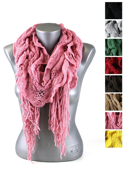 DZ Pack Assorted Color Ruffled Knitted Scarves with Tassels