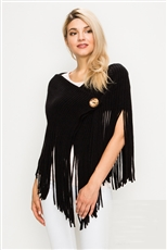 A Half Dozen Assorted Color Button Accent Hoodie Fringe Poncho