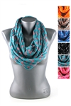DZ Pack Assorted Color Cross Printed Infinity Scarves