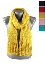 DZ Pack Assorted Color Honeycomb Pattern Knitted Scarves with Tassels