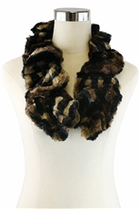 DZ Pack Assorted Color Animal Pattern Faux Fur Elastic Scarves