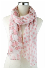 DZ Pack Assorted Color Polka Dot and Floral Print Scarves