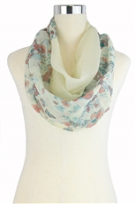 DZ Pack Assorted Color Multi Tone Butterfly and Flower Print Infinity Scarves