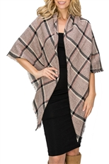 A Dozen Assorted Color Plaid Pattern Blanket Scarves