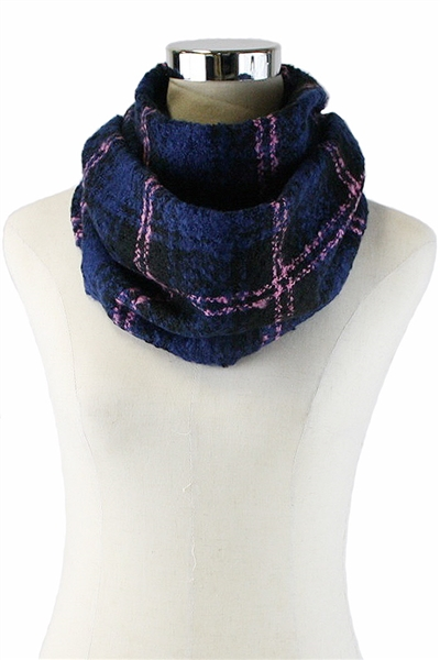 DZ Pack Assorted Color Multi Tone Checkered Mohair Infinity Scarves