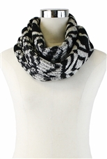 DZ Pack Assorted Color Geometric Tribal Knit Infinity Scarves