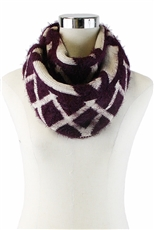 DZ Pack Assorted Color Geometric Print Mohair Infinity Scarves