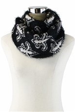 DZ Pack Assorted Color Fleur De Lis Print Mohair Infinity Scarves