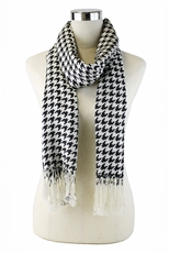 DZ Pack Assorted Color Houndstooth Print Fringe Scarves