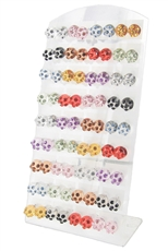 36 pairs Assorted Color Round Stud Earring with Display Case