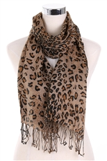 A Dozen Assorted Color Leopard Print Scarves