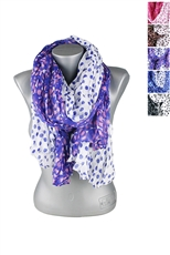 DZ Pack Assorted Color Polka Dot Print Wrinkled Scarves