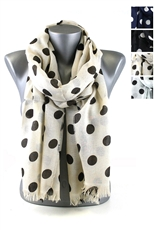 DZ Pack Assorted Color Polka Dot Print Scarves