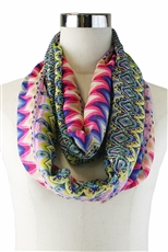 DZ Pack Assorted Color Multi Tone Aztec Print Infinity Scarves