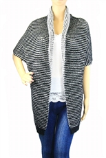 Black and White Mohair Rayon Poncho