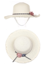 A Dozen Assorted Color Flower Accent Sun Straw Hat