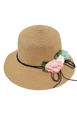 A Dozen Assorted Color Flower Accent Straw Brim Hat