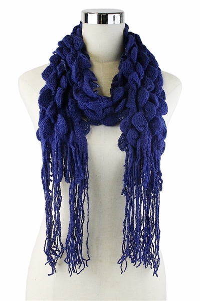 DZ Pack Assorted Color Glitter Accent Fringe Ruffle Knit Scarves