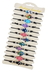 A Dozen Assorted Color Tribal Hamsa Hand Bracelet