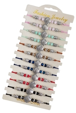 A Dozen Assorted Color Shell Charm Glass Bead Bracelet