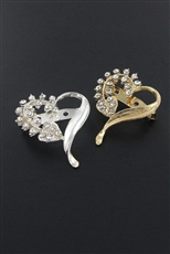Dozen Gold and Silver Rhinestone Heart Brooch