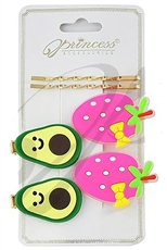 A Dozen Assorted Color 6-pc Fruit Theme Hair Clip Set