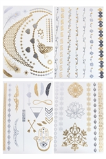 24 Cards Mixed Designs Metallic Temporary Tattoos