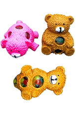A Dozen Assorted Color Bear Cub Anti-Stress Squishy Mesh Ball