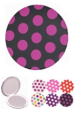 A Dozen Assorted Color Polka Dot Dainty Compact Mirror