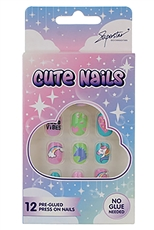 A Dozen Assorted Color Kids Nail Set