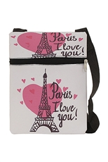 Dozen Assorted Color Paris Theme  Messenger Bag