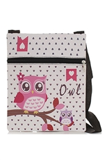 Dozen Assorted Color Owl Print Messenger Bag