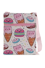 Dozen Assorted Color Unicorn Cat Print Messenger Bag