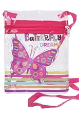 A Dozen Assorted Color Butterfly Transparent Messenger Bag