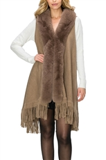 Soft Fur Collar Fringe Vest