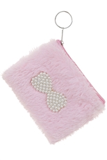 A Dozen Assorted Color Pearl Ribbon Accent Soft Fur Coin Purse