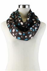 DZ Pack Assorted Color Multi Tone Polka Dot Print Infinity Scarves