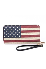 Retro American Flag Faux Leather Wallet